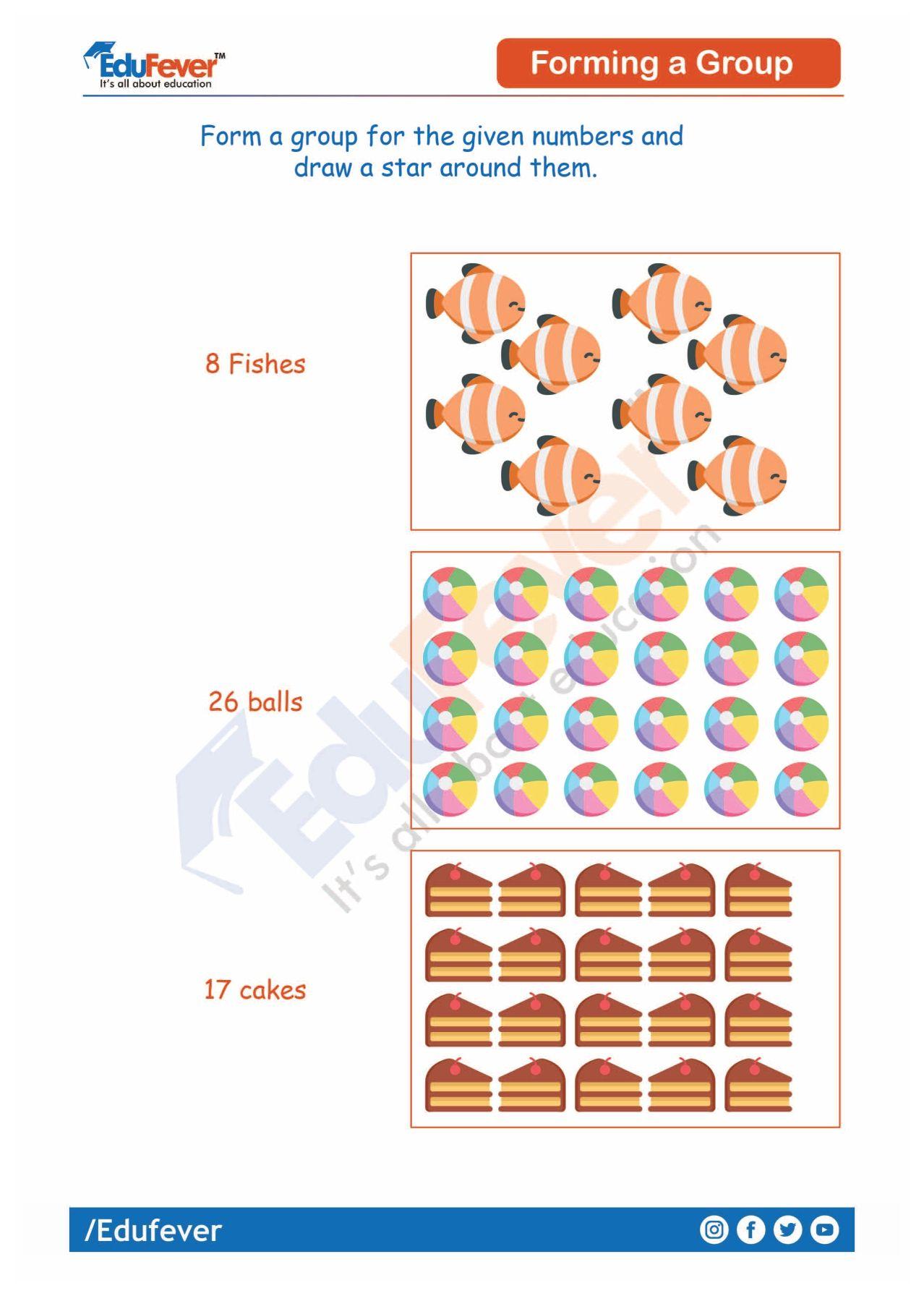 Forming A Group Ukg Maths Worksheet Number Worksheets Math Worksheet Mathematics Worksheets