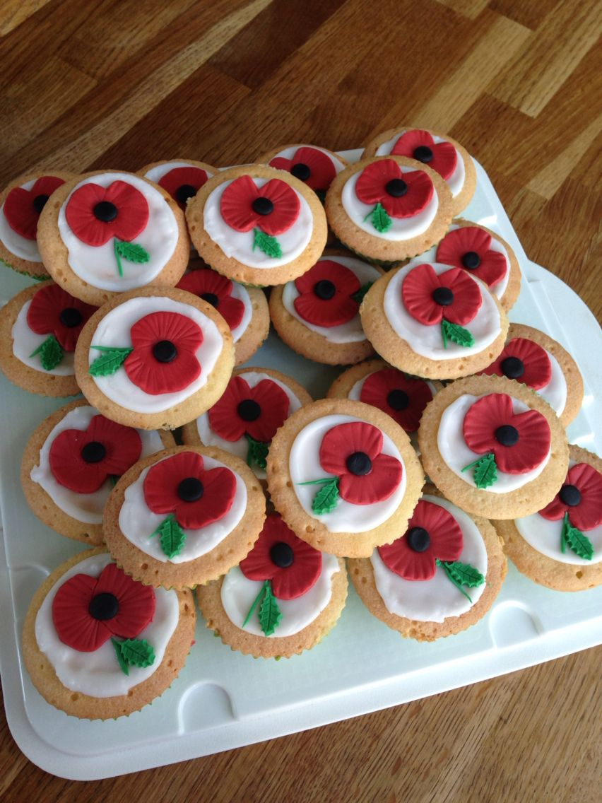 Poppy day Cupcake  Remembrance Sunday toppers  x 12 Decoration