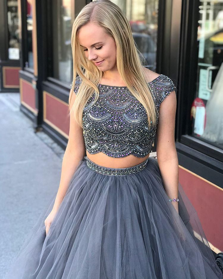 edf2d3606e 2018 Two Piece Prom Dress With Sleeves A Line Silver Long Cheap Prom Dress   VB1584