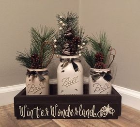 Winter Centerpiece, Christmas Centerpiece, Winter Wonderland, Christmas Mason Jar Centerpiece, Winter Decor, Farmhouse Christmas #winterdecor