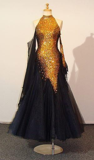 43611b4ff Marabo Gorgeous Gold & Black Prom Dress / Vestido Largo | dance ...