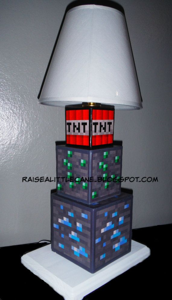 Minecraft Inspired Desk Lamp Minecraft Room Lamp Diy Furniture Decor