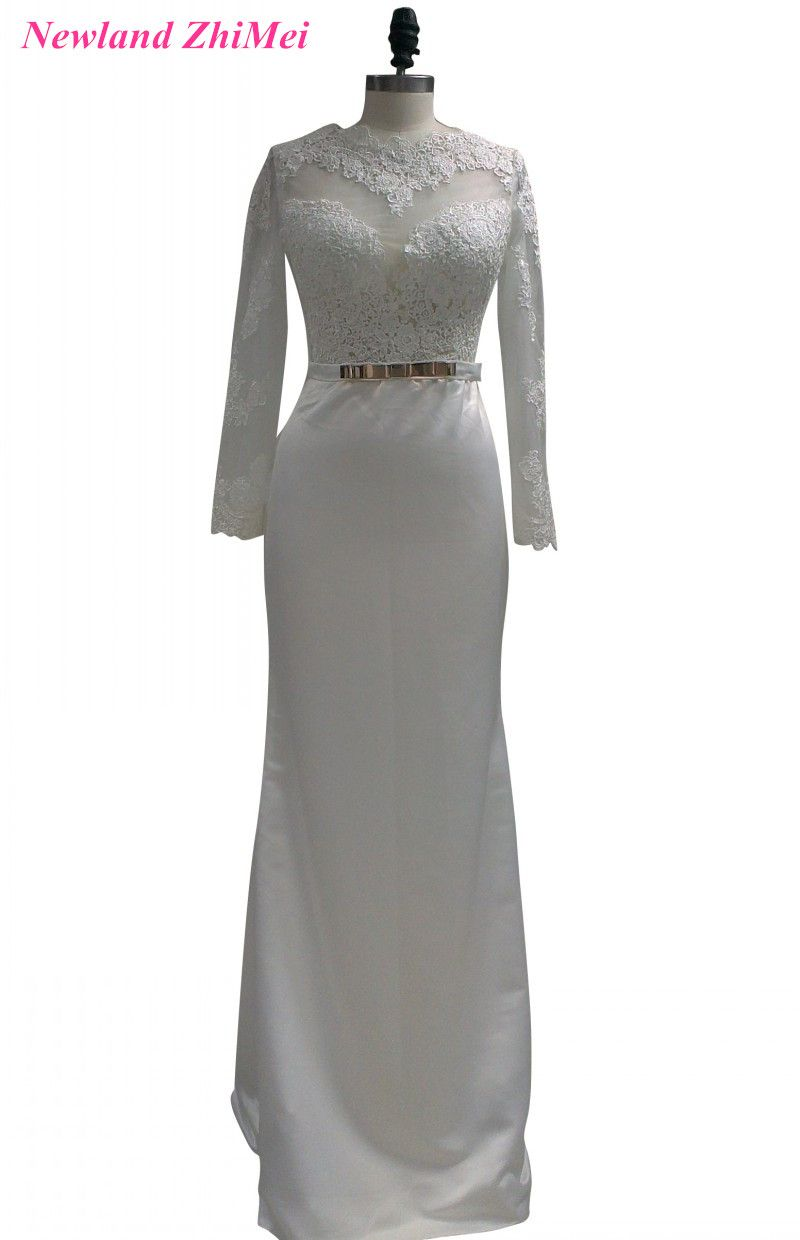 Wedding dress with bow on back  Click to Buy ucuc Special Design Long Sleeve Bride Dress Vintage Open