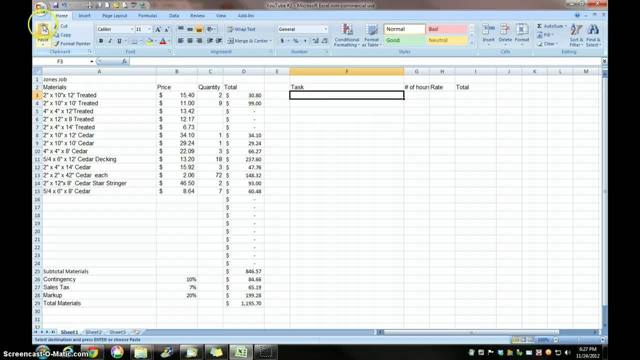 Estimating With Excel For The Small Contractor  Auto Cad