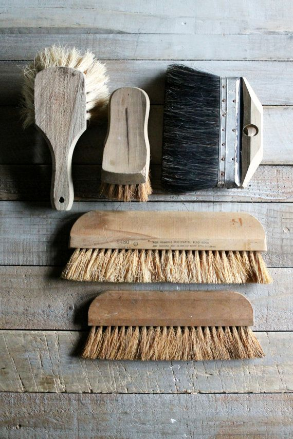 5 Vintage Wooden Workman Brushes by therhubarbstudio on Etsy