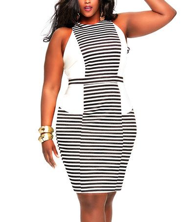 Another great find on #zulily! Ivory & Black Stripe Yacht Dress - Plus #zulilyfinds #shopping