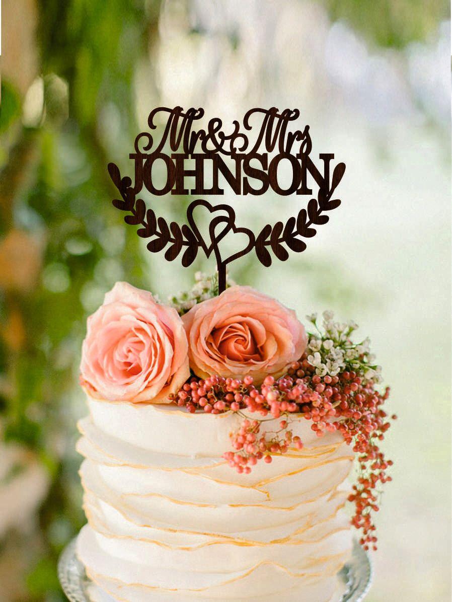 Mr and mrs wedding cake topper last name custom rustic wedding cake
