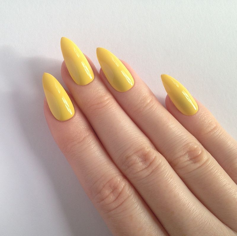 Yellow Nail Art Designs For You To Take Inspiration From Fashion Star Yellow Nails Acrylic Nails Stiletto Yellow Nail Art