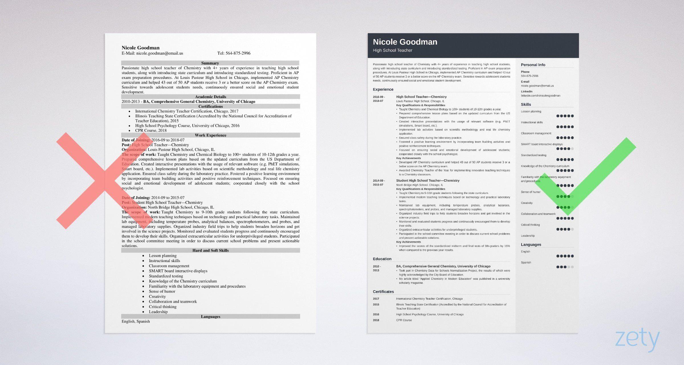High school teacher resume sample writing guide 20