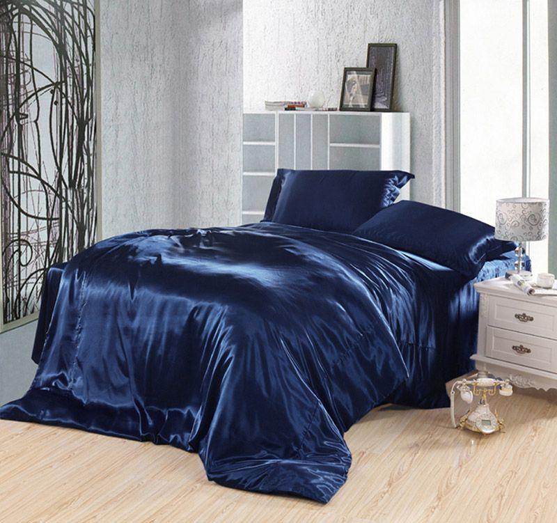 Pure Enjoyment Navy Blue Silk Bedding Silk Duvet Cover Set Blue Bedding Sets Blue Bedding Satin Bedding