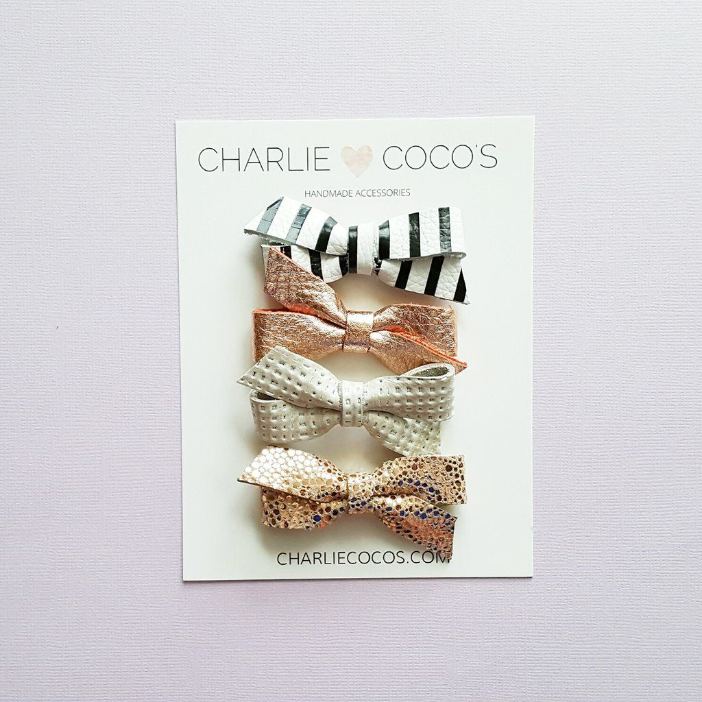 baby leather hair bows, leather bow headbands, hair bow set by @charliecocos