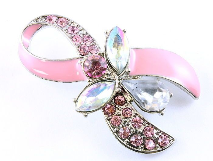Jeweled Guardian Angel Pink Crystal Ribbon Breast Cancer Pin Brooch USA Seller #CrystalAvenue