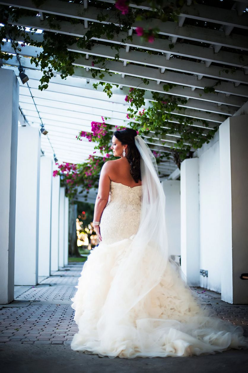 Cathedral wedding dress  Outdoor Garden Bridal Portrait in Downtown St Pete with Layered