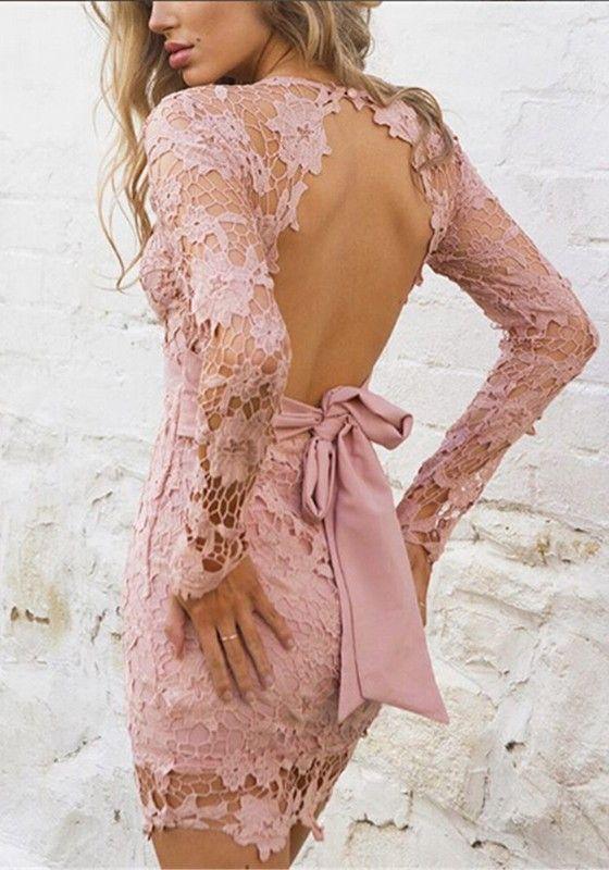 Rosa Blumen Spitze V-Ausschnitt Langarm Rückenfreies Minikleid Sexy ...