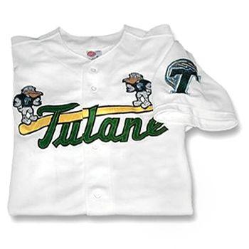 95e881de8 White Baseball Replica Jersey has a tackle twill sluggerbird logo across  chest and t-wave