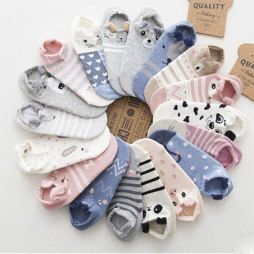 2017 New Style Spring And Summer Cartoon Small Ears Character Cotton Ankle  Low Anmial Cute Socks