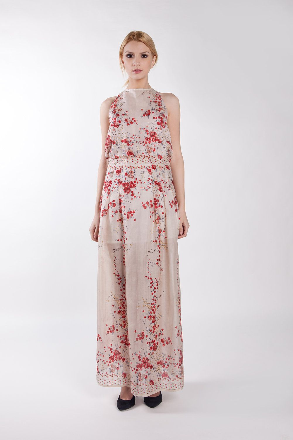 Cherry blossom flower print silk dress. Formal. Summer wedding.Maxi dress. $299.00, via Etsy. @Liz Burks