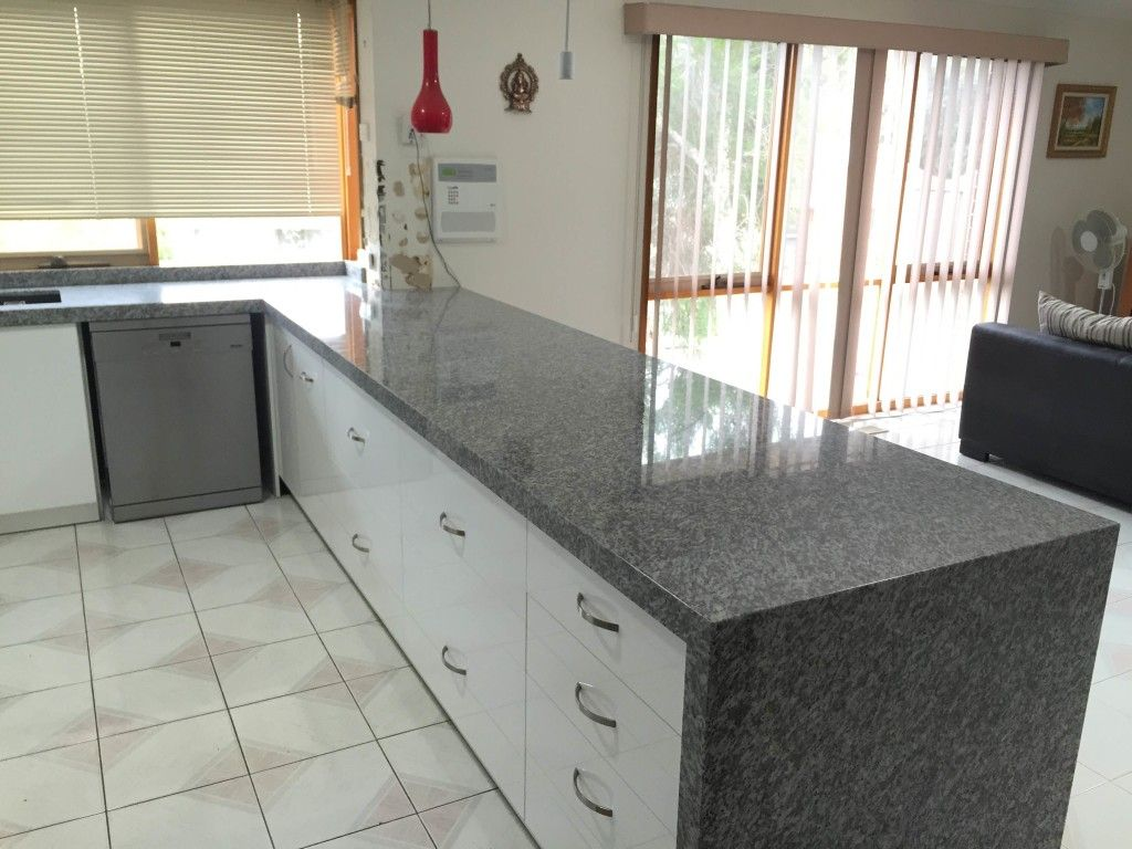 Oriental White Granite With Waterfall End Waterfall Edge