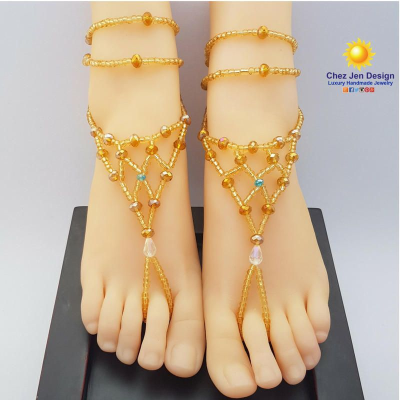 Gold foot jewelry Gold barefoot sandals Bridal barefoot sandals