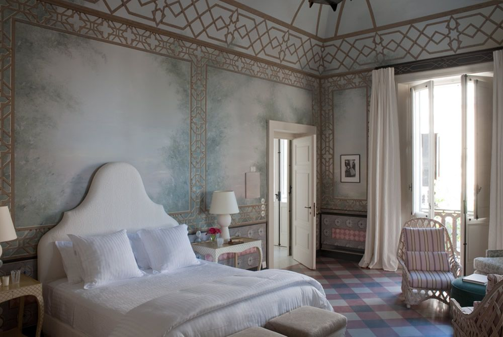 suite four  (sofia)  Jacques Grange designed this suite with inspiration from Sofia Coppola; its mood is delicate and feminine, with hand-painted frescos evoking a misty summer garden at dawn.