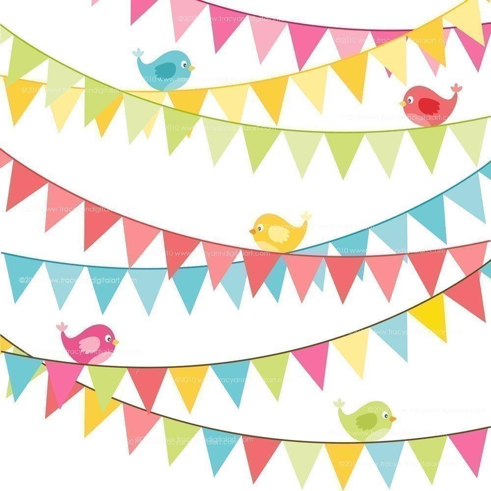 Birthday flag banner Clip Art Bright by TracyAnnDigitalArt, $5.95 ...