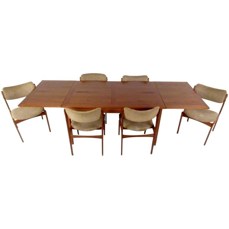 Mid Century Skovby Teak Dining Table and Six OD Mobler Chairs