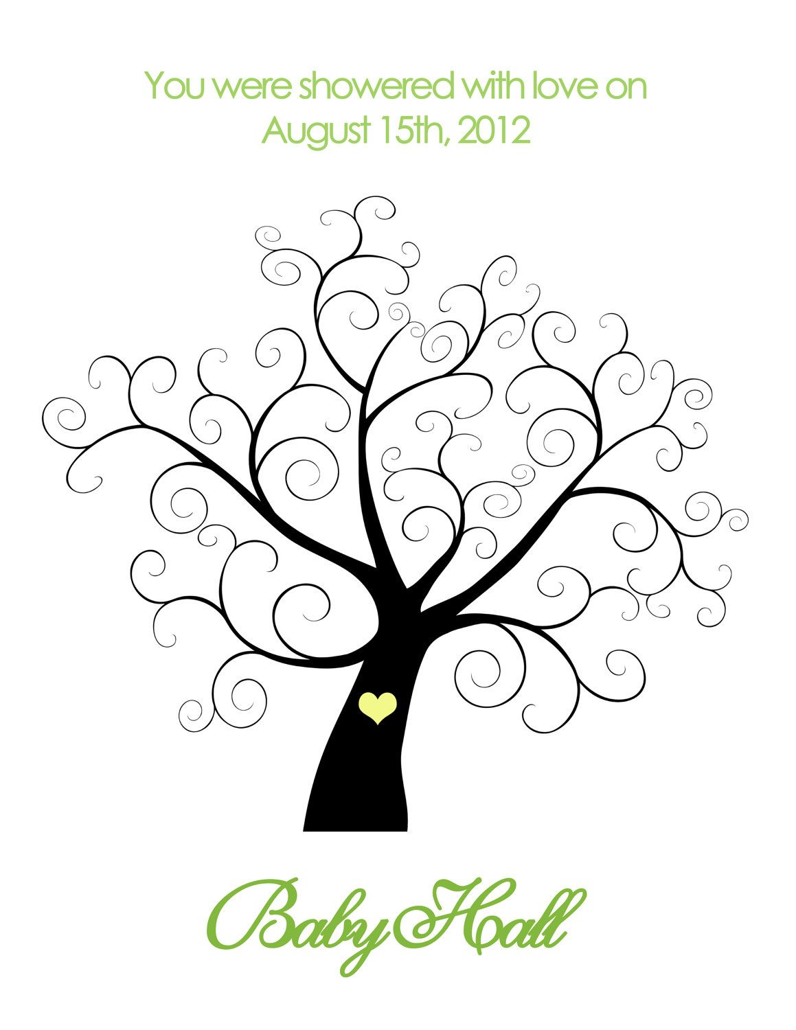 printable baby shower thumbprint tree personalized 14 00 via