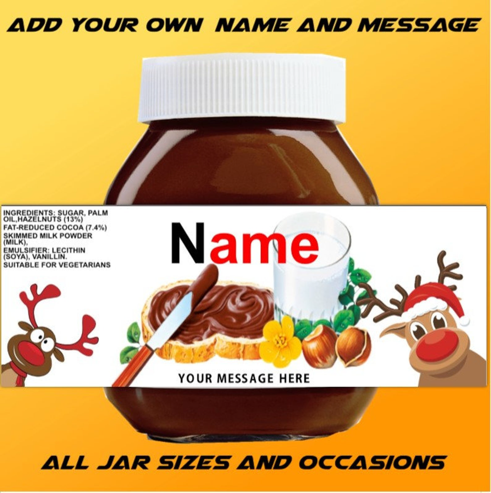 Reindeer Nutella Label Personalize With Name And Message Etsy Nutella Label Personalized Labels Nutella