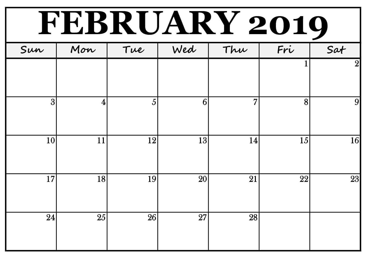 February 2019 Calendar For Office Use Free Printable February 2019