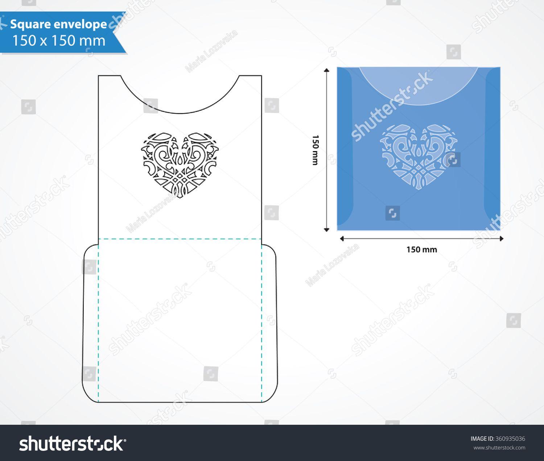 Laser cut pocket envelope template for wedding invitation. Square ...