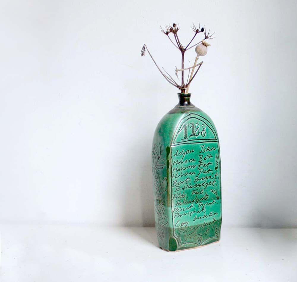 Vintage Pottery Vase Bottle Vessel In Jade Green Folk Rustic  # Muebles Jade Cali