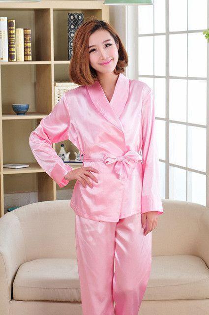 Kimono Pajamas For Women White Lace Satin Sleepwear Long Sleeve Pajama Sets  Ladies Silk Pyjamas e56322a8d