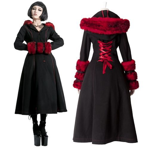 Designer Black and Red Wool Goth Fashion Winter Trench Coats Women ...