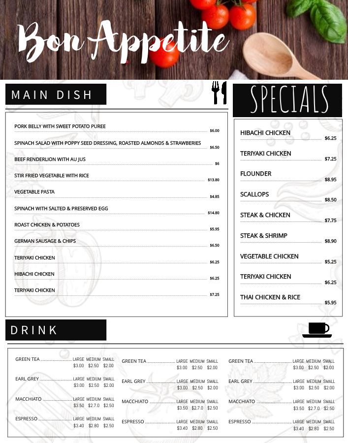 Bar menu design template Click to customize Menu Templates - menu design template