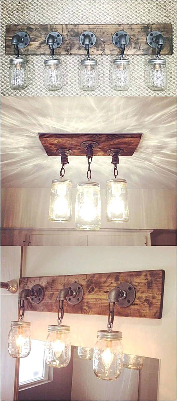 Diy mason jar light fixtures rustic bathroom lighting pinterest diy mason jar light fixtures aloadofball Images