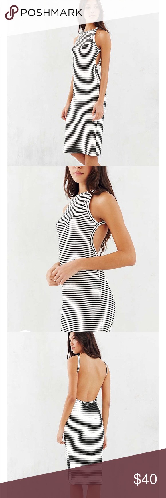 Silence and Noise Harness Strap Open-Back Dress White and black strapless sleeveless rib knight midi dress with a sexy plunging back, super stretchy, cuts right below the knee, high neck halter strap. Never Worn. Urban Outfitters Dresses Midi
