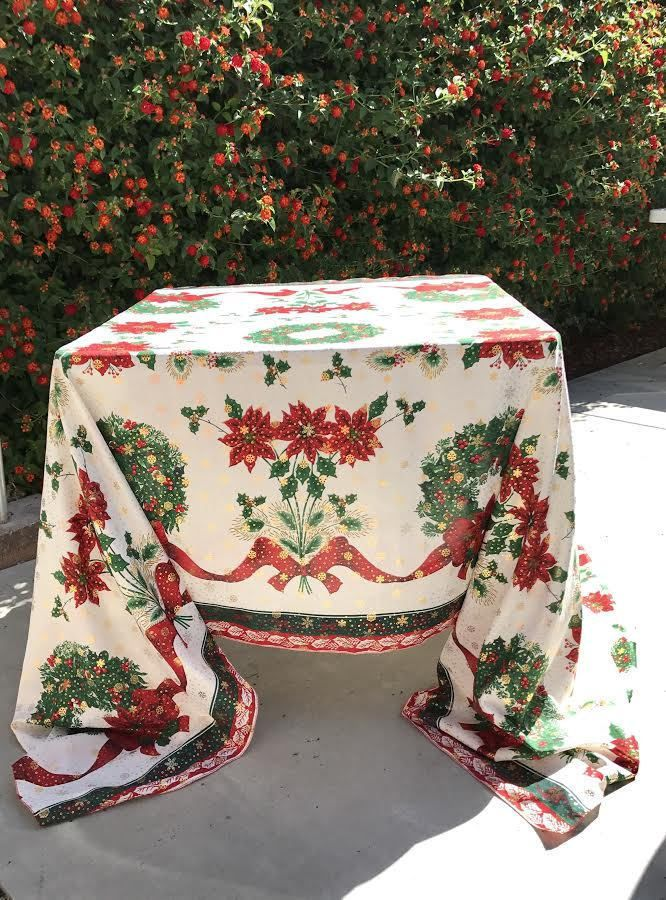 tablecloth, Christmas table decor, Christmas tablecloth, Christmas