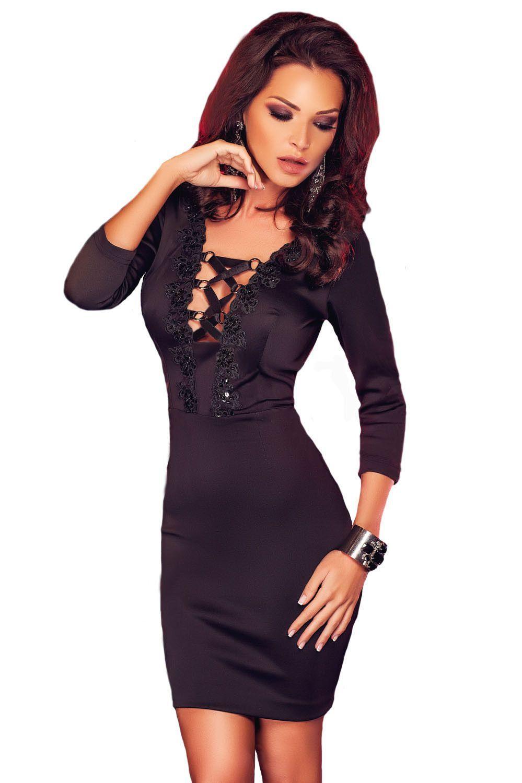 Embroidered neckline three quarter black evening dress sexy