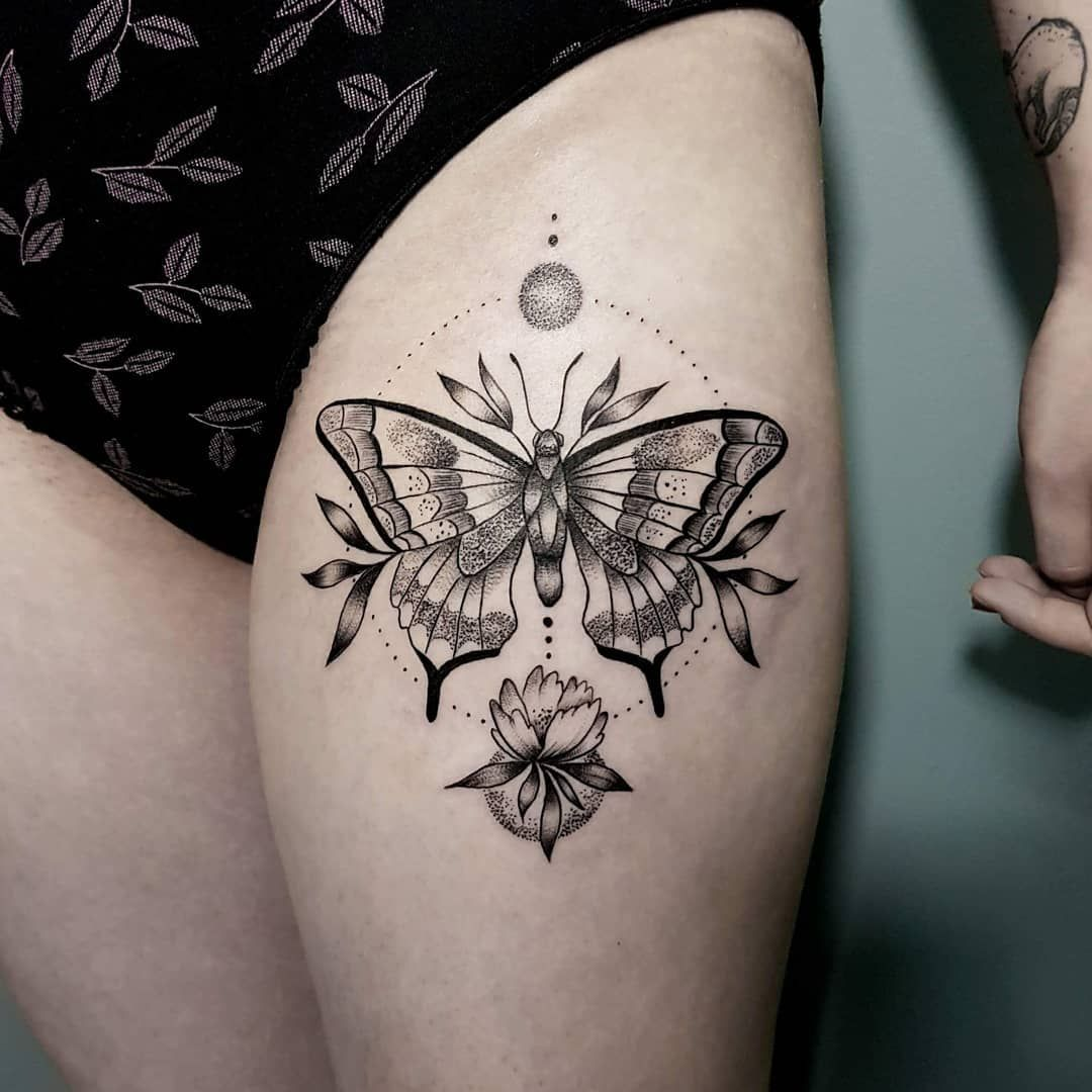 Butterfly And Flower Tattoo On The Thigh Butterfly Thigh Tattoo