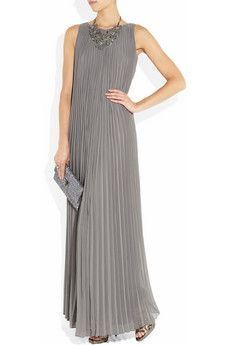 17cea5e9604 Halston Heritage Pleated chiffon maxi dress