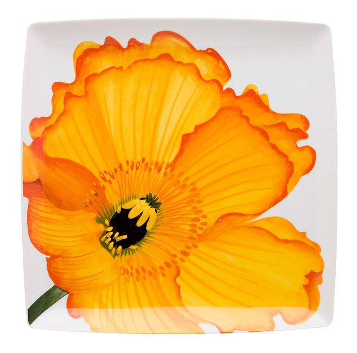 LILY Charger Plate Porcelain painting, Yellow decor