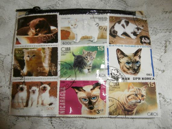 Postage Stamp Purse - Cats