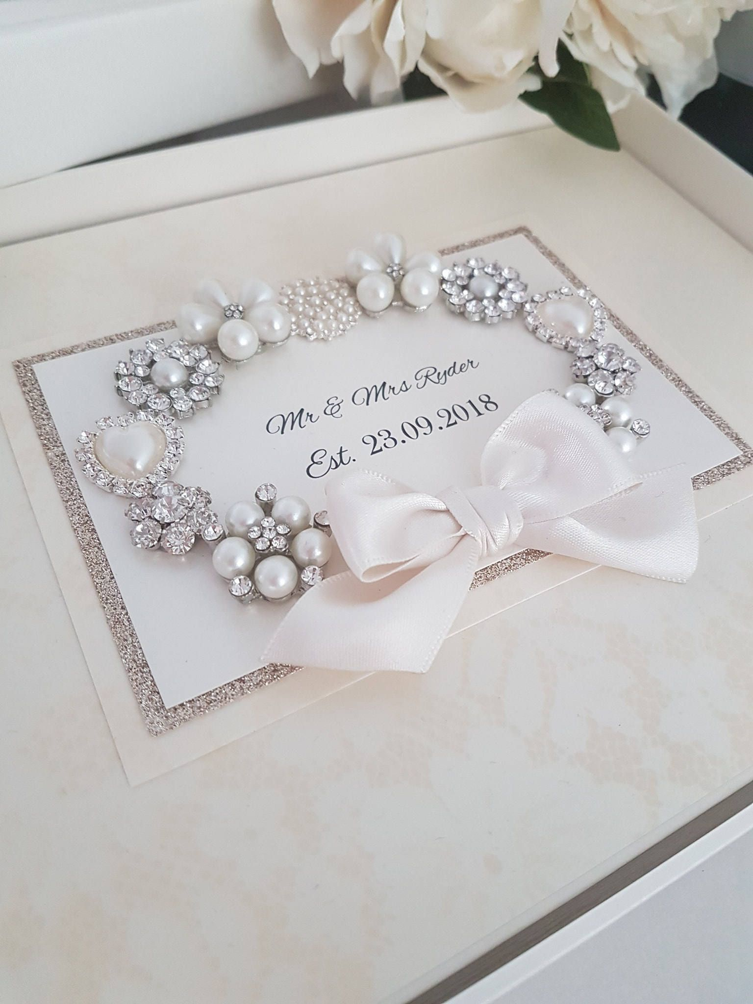 Personalised Wedding Guest Book Pearl Luxury Keepsake Glitter Rose Gold Retail Pinterest