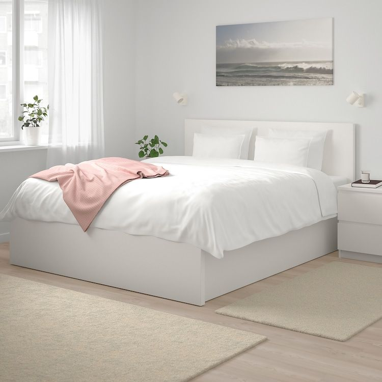 Malm White Ottoman Bed Standard Double Ikea In 2020 White Bed Frame Bed Frame With Storage Malm Bed Frame