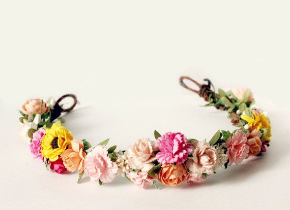 Spring Floral Crown flower crown Woodland Spring door rosesandlemons & Spring Floral Crown flower crown Woodland Spring door rosesandlemons ...