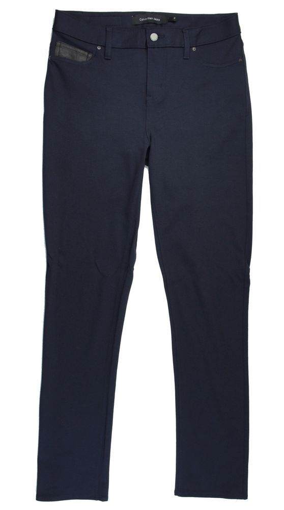 New CALVIN KLEIN Size 10 Navy Blue Knit Skinny Leggings Pants #CalvinKlein #Knit