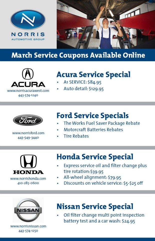 March Service Coupons Available Online Norris Acura West Norris - Acura coupons