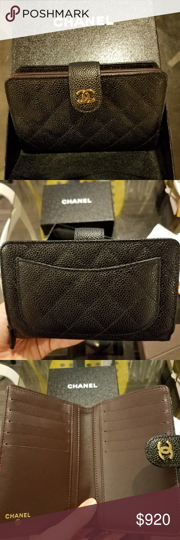 184817f799ce CHANEL Classic Quilted Caviar L-Zip Bifold Wallet 100% Authentic Chanel  black caviar classic