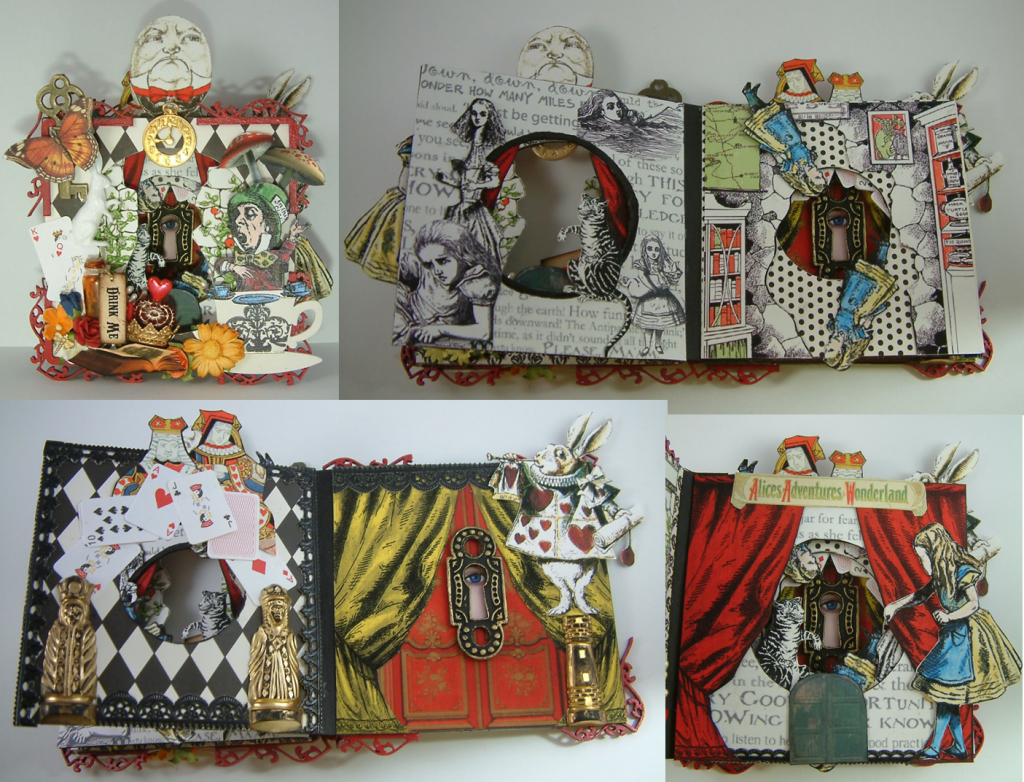 """Alice in Wonderland Tunnel Book - To see more pictures of this book and for a tutorial on how to create a tunnel book checkout my Blog """"Artfully Musing"""" at http://artfullymusing.blogspot.com"""
