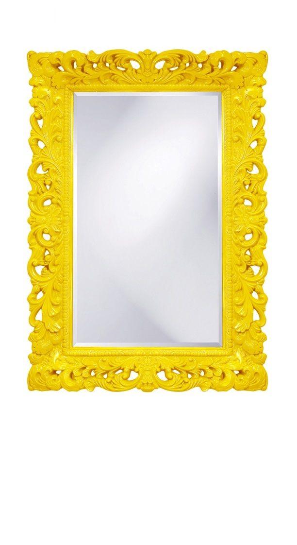 Yellow Interior Design Decorating Ideas, Yellow Baroque Wall Mirrors ...